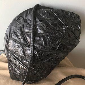 Vintage Black Snake Skin Crossbody Bag